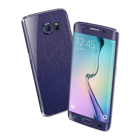 Samsung Galaxy S6 EDGE 3M Brushed Steel Blue Metallic Skin Wrap Sticker Cover Protector Decal by EasySkinz
