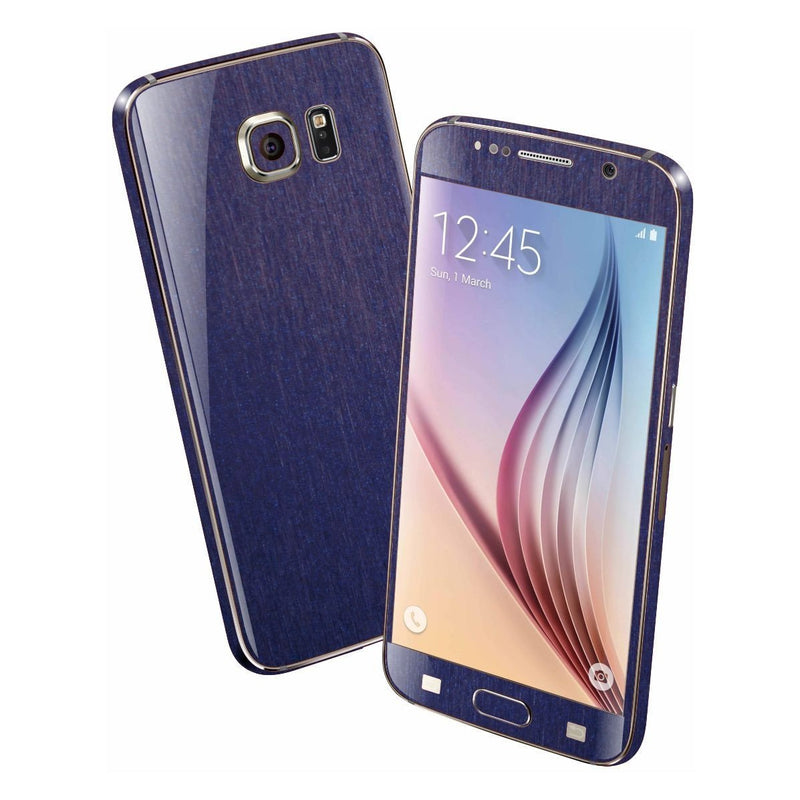Samsung Galaxy S6 3M Brushed Steel Blue Metallic Skin Wrap Sticker Cover Protector Decal by EasySkinz
