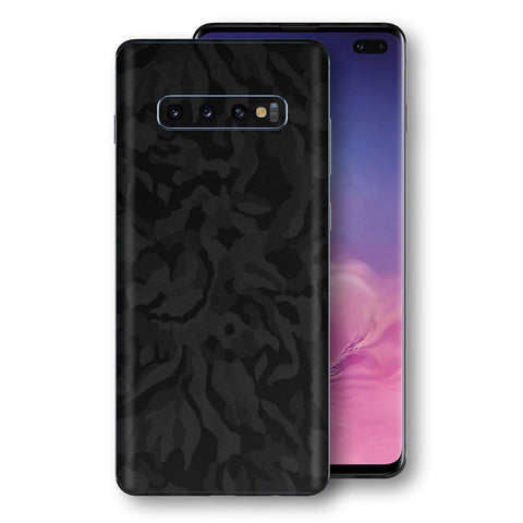 Samsung Galaxy S10+ PLUS Black Camo Camouflage 3D Textured Skin Wrap Decal Protector | EasySkinz