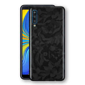 Samsung Galaxy A7 (2018) Black Camo Camouflage 3D Textured Skin Wrap Decal Protector | EasySkinz