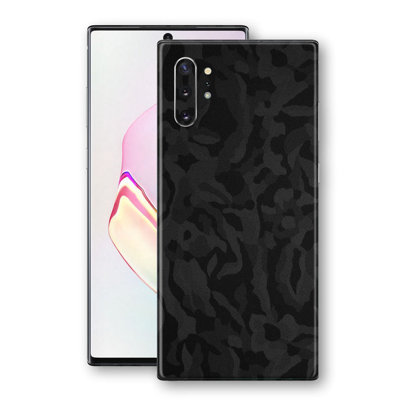 Samsung Galaxy NOTE 10+ PLUS Black Camo Camouflage 3D Textured Skin Wrap Decal Protector | EasySkinz