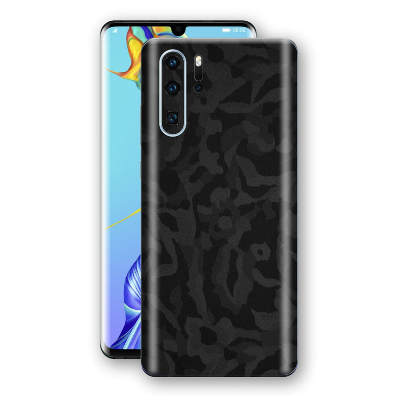 Huawei P30 PRO Black Camo Camouflage 3D Textured Skin Wrap Decal Protector | EasySkinz
