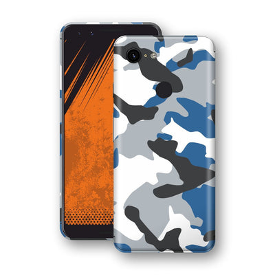 Google Pixel 3 Print Custom Signature BLUE Camouflage Skin Wrap Decal by EasySkinz
