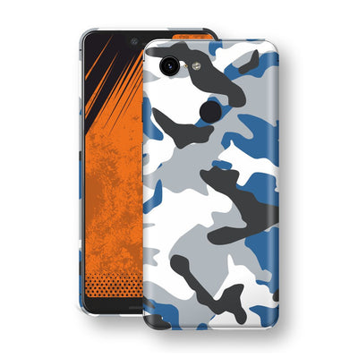 Google Pixel 3 XL Print Custom Signature BLUE Camouflage Skin Wrap Decal by EasySkinz