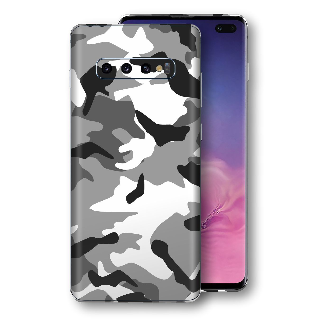 Samsung Galaxy S10+ PLUS Print Custom Signature Grey Camouflage Camo Skin Wrap Decal by EasySkinz