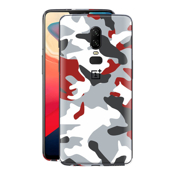 OnePlus 6 Print Custom Signature Camouflage Red Skin Wrap Decal by EasySkinz