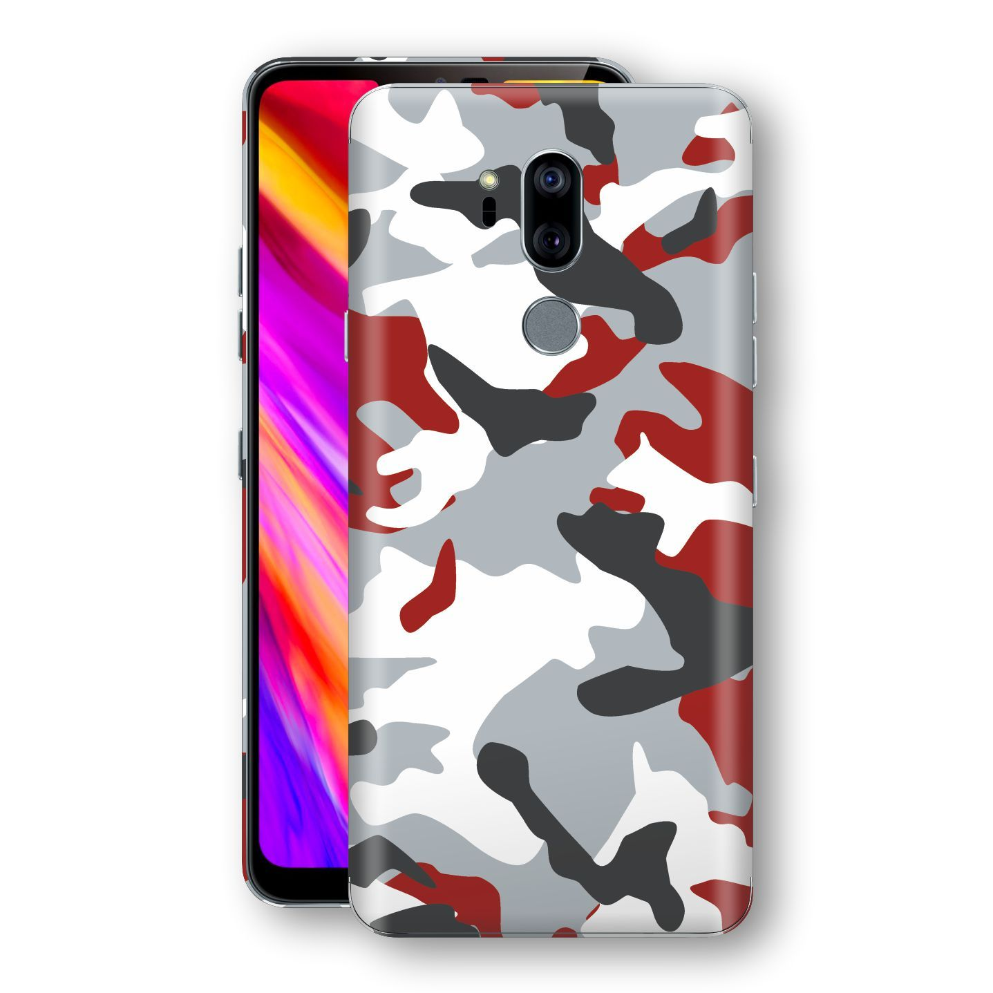 LG G7 ThinQ Print Custom Signature Camouflage Red Skin Wrap Decal by EasySkinz