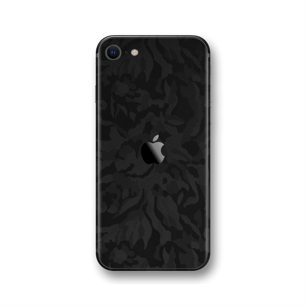 iPhone SE (2020) Black Camo Camouflage 3D Textured Skin Wrap Sticker Decal Cover Protector by EasySkinz