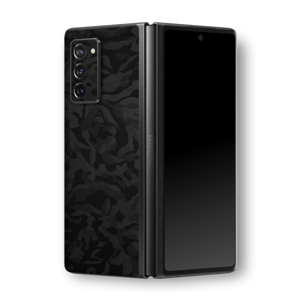 Samsung Galaxy Z Fold 2 Black Camo Camouflage 3D Textured Skin Wrap Sticker Decal Cover Protector by EasySkinz