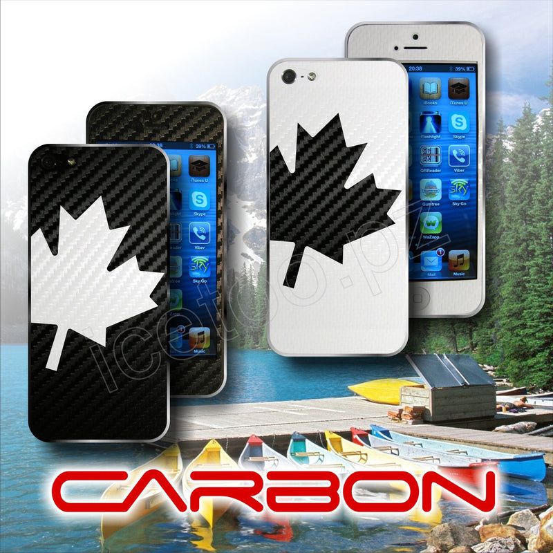 3D CARBON Fiber  CANADA Maple Leaf l'Unifolié Skin  for iPhone 5