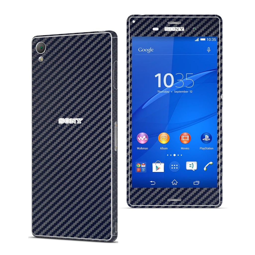 Sony Xperia Z3 NAVY BLUE Carbon Fibre Fiber Skin Wrap Sticker Cover Decal Protector. By EasySkinz.