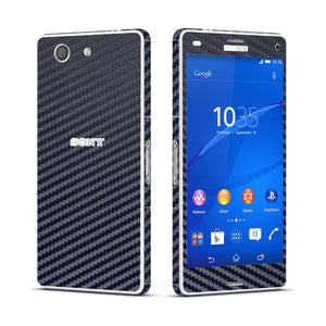 Sony Xperia Z3 COMPACT Navy Blue Carbon Fibre Fiber Skin Wrap Sticker Cover Decal Protector. By EasySkinz.