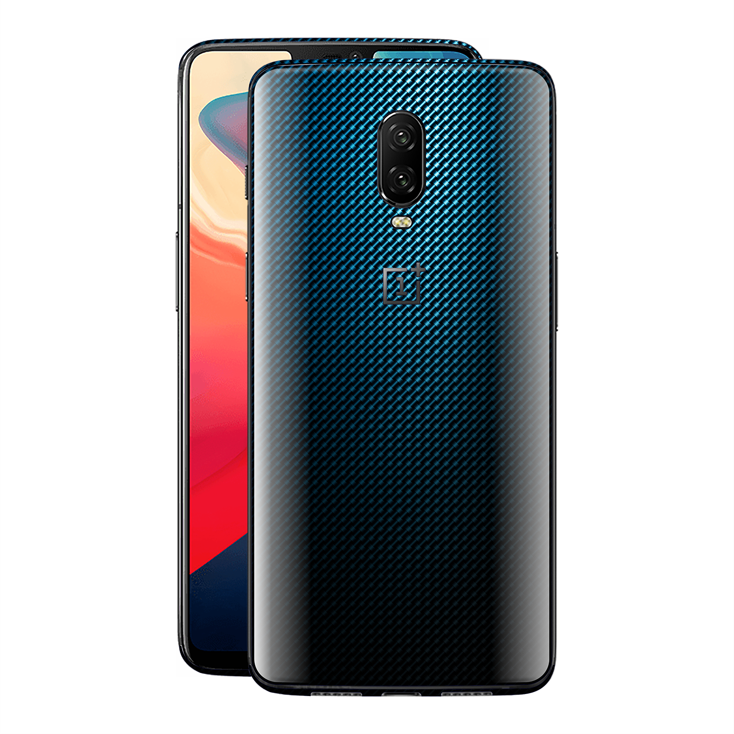 OnePlus 6T Print Custom Signature Blue Grid Carbon Abstract Skin Wrap Decal by EasySkinz