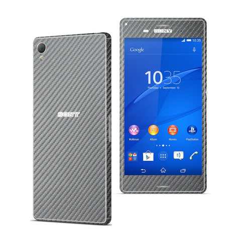 Sony Xperia Z3 METALLIC GREY Carbon Fibre Fiber Skin Wrap Sticker Cover Decal Protector. By EasySkinz.