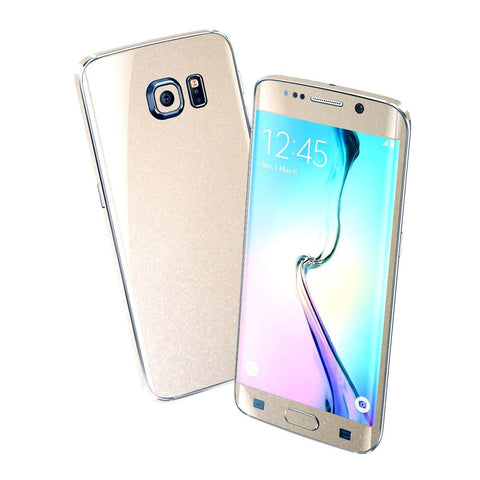 Samsung Galaxy S6 EDGE Colorful GLOSSY Champagne Gold Metallic Skin Wrap Sticker Cover Protector Decal by EasySkinz