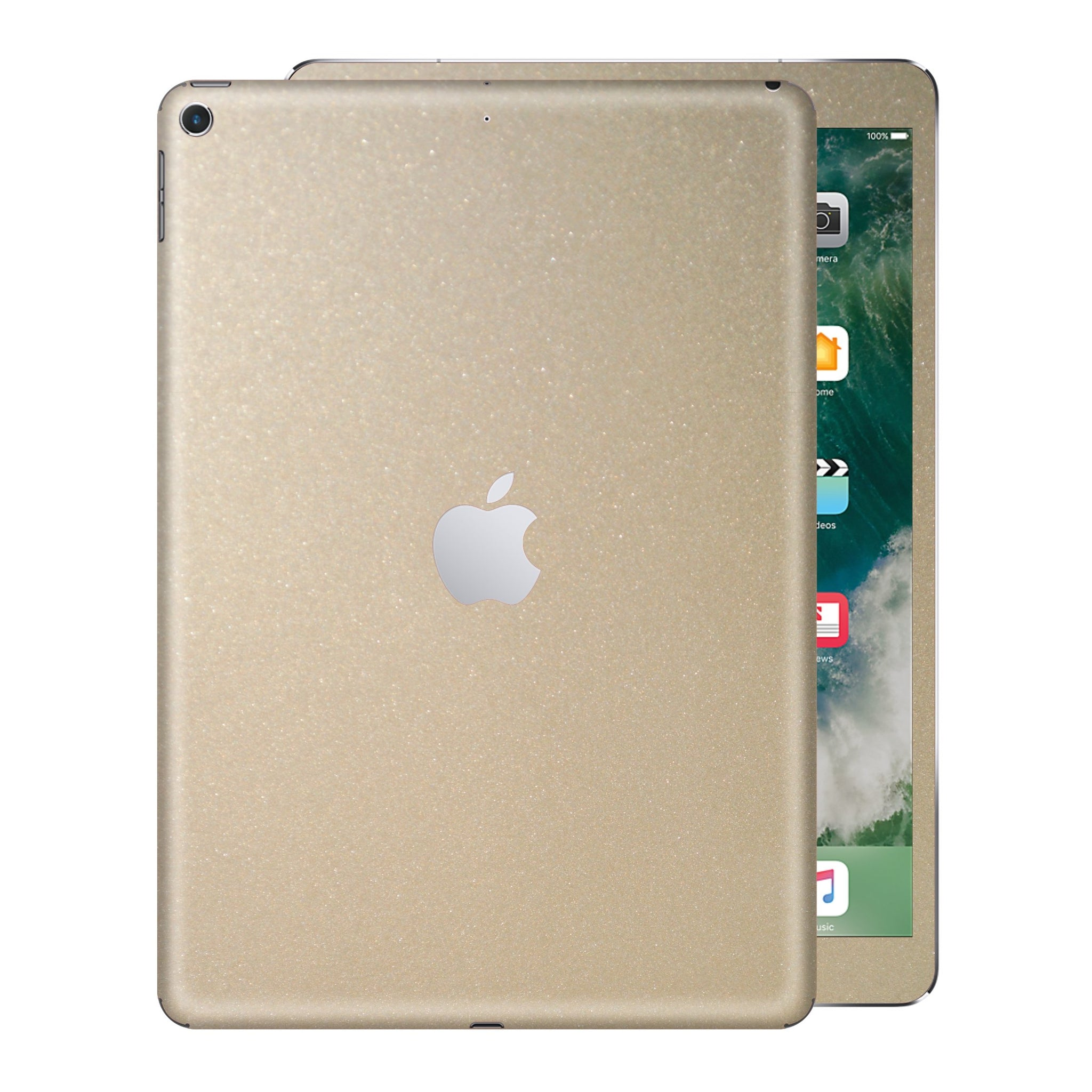 iPad 9.7 inch 2017 Glossy Champagne Gold Metallic Skin Wrap Sticker Decal Cover Protector by EasySkinz