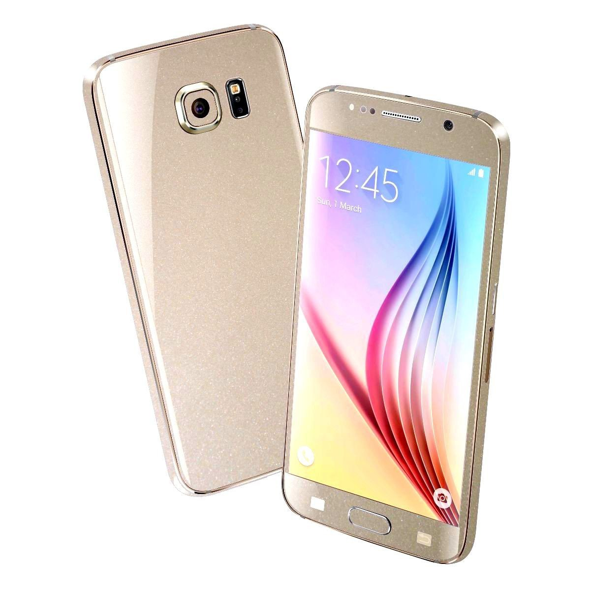 Samsung Galaxy S6 Colorful GLOSSY Champagne Gold Metallic Skin Wrap Sticker Cover Protector Decal by EasySkinz