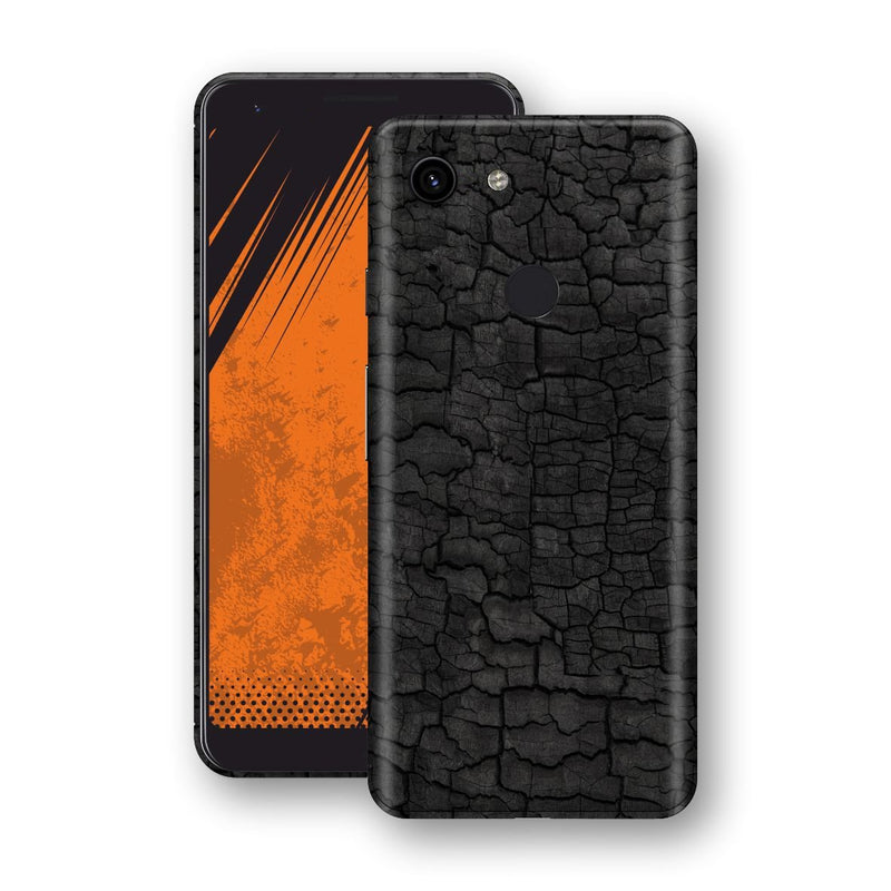 Google Pixel 3a XL Print Custom Signature Burnt Wood Black Charcoal Abstract Skin Wrap Decal by EasySkinz