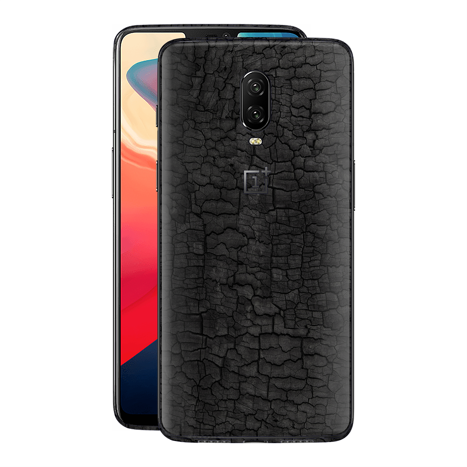OnePlus 6T Print Custom Signature Burnt Wood Black Charcoal Abstract Skin Wrap Decal by EasySkinz