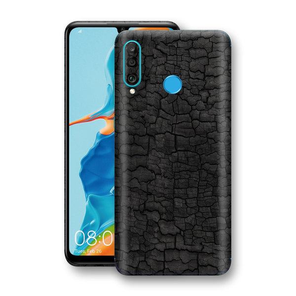 Huawei P30 LITE Print Custom Signature Burnt Wood Black Charcoal Abstract Skin Wrap Decal by EasySkinz