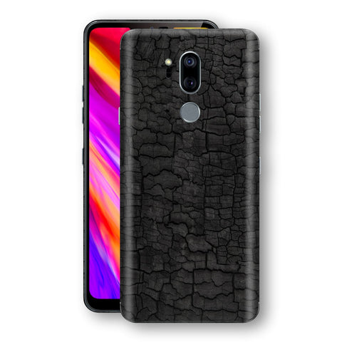 LG G7 ThinQ Print Custom Signature Burnt Wood Black Charcoal Abstract Skin Wrap Decal by EasySkinz