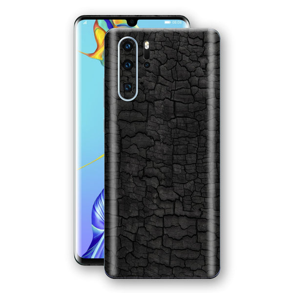 Huawei P30 PRO Print Custom Signature Burnt Wood Black Charcoal Abstract Skin Wrap Decal by EasySkinz