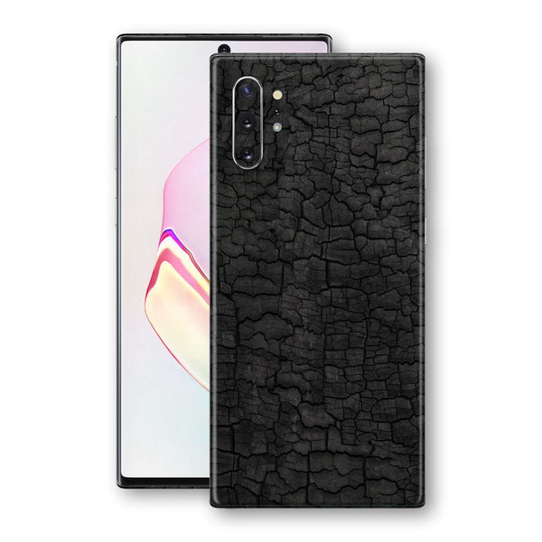 Samsung Galaxy NOTE 10+ PLUS Print Custom Signature Burnt Wood Black Charcoal Abstract Skin Wrap Decal by EasySkinz