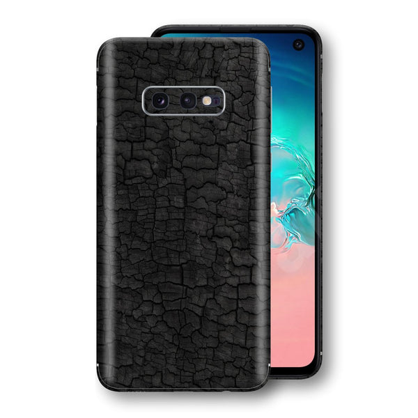Samsung Galaxy S10e Print Custom Signature Burnt Wood Black Charcoal Abstract Skin Wrap Decal by EasySkinz