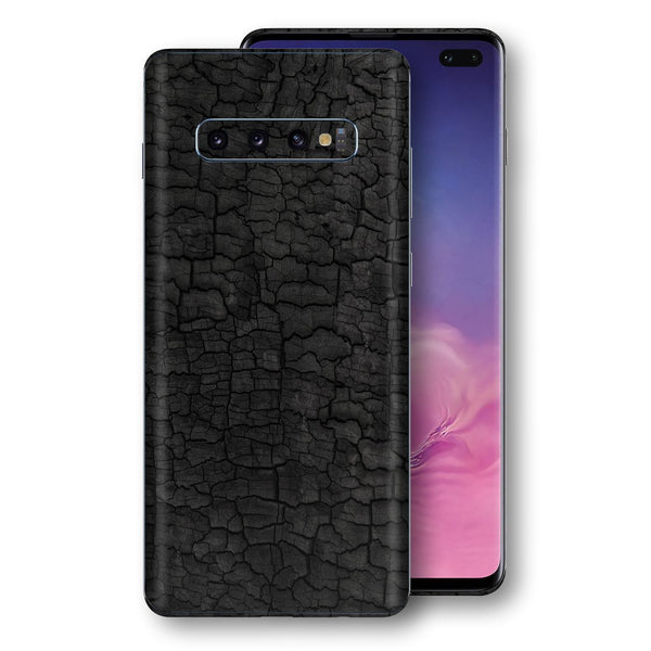Samsung Galaxy S10+ PLUS Print Custom Signature Burnt Wood Black Charcoal Abstract Skin Wrap Decal by EasySkinz