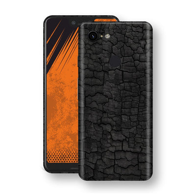 Google Pixel 3 XL Print Custom Signature Burnt Wood Black Charcoal Abstract Skin Wrap Decal by EasySkinz