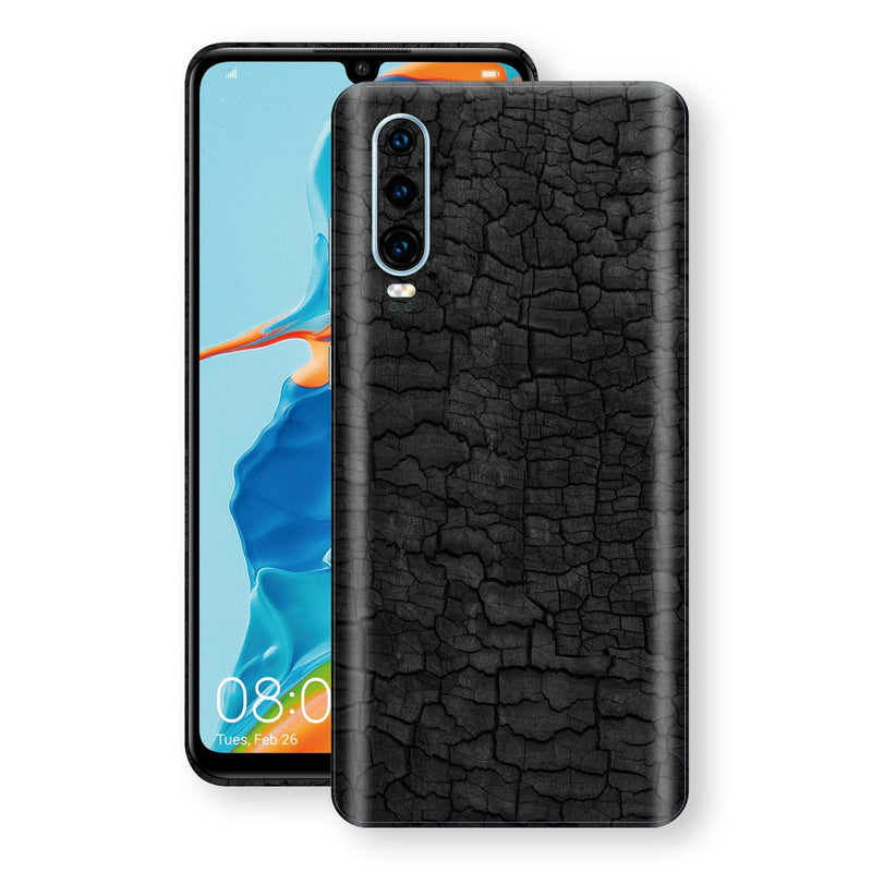 Huawei P30 Print Custom Signature Burnt Wood Black Charcoal Abstract Skin Wrap Decal by EasySkinz