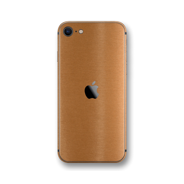 iPhone SE (2020) Brushed Copper Metallic Metal Skin Wrap Sticker Decal Cover Protector by EasySkinz