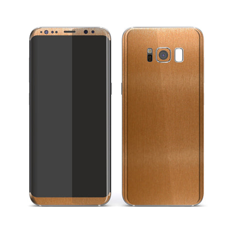 Samsung Galaxy S8 Brushed Copper Metallic Metal Skin, Decal, Wrap, Protector, Cover by EasySkinz | EasySkinz.com