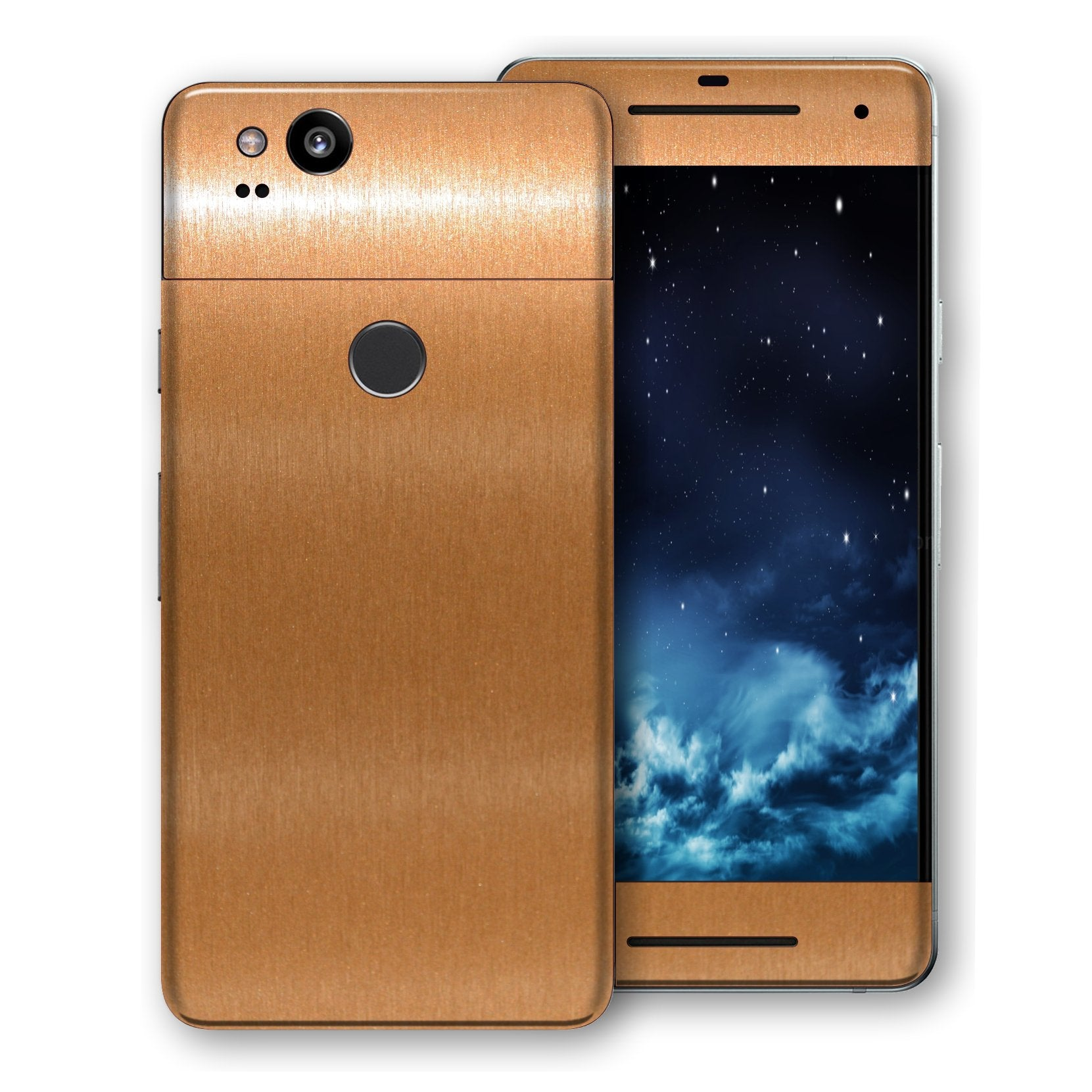 Google Pixel 2 Brushed Copper Metallic Metal Skin, Decal, Wrap, Protector, Cover by EasySkinz | EasySkinz.com