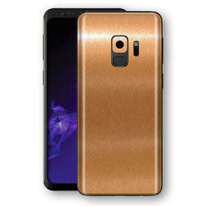 Samsung GALAXY S9 Brushed Copper Metallic Metal Skin, Decal, Wrap, Protector, Cover by EasySkinz | EasySkinz.com