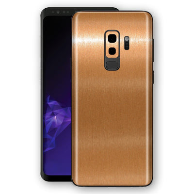 Samsung GALAXY S9+ PLUS Premium Brushed Champagne Gold Metallic Metal Skin, Decal, Wrap, Protector, Cover by EasySkinz | EasySkinz.com