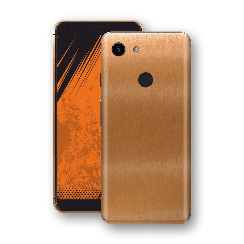 Google Pixel 3a Brushed Copper Metallic Metal Skin, Decal, Wrap, Protector, Cover by EasySkinz | EasySkinz.com
