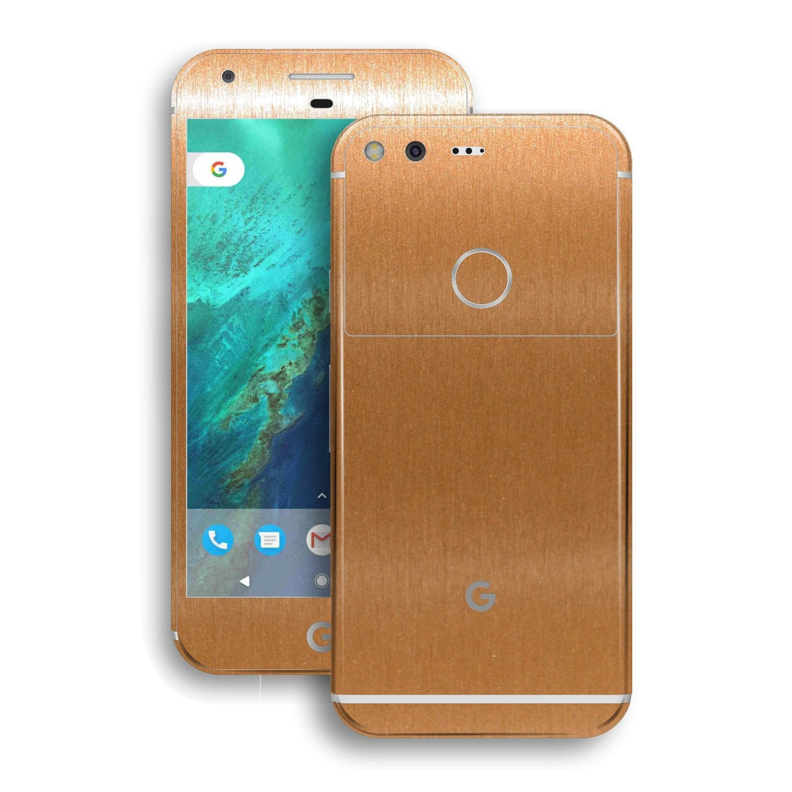 Google Pixel XL Brushed Copper Metallic Metal Skin Wrap Decal by EasySkinz
