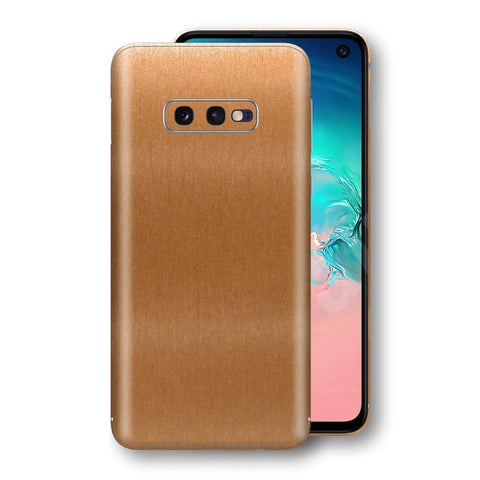 Samsung Galaxy S10e Brushed Copper Metallic Metal Skin, Decal, Wrap, Protector, Cover by EasySkinz | EasySkinz.com