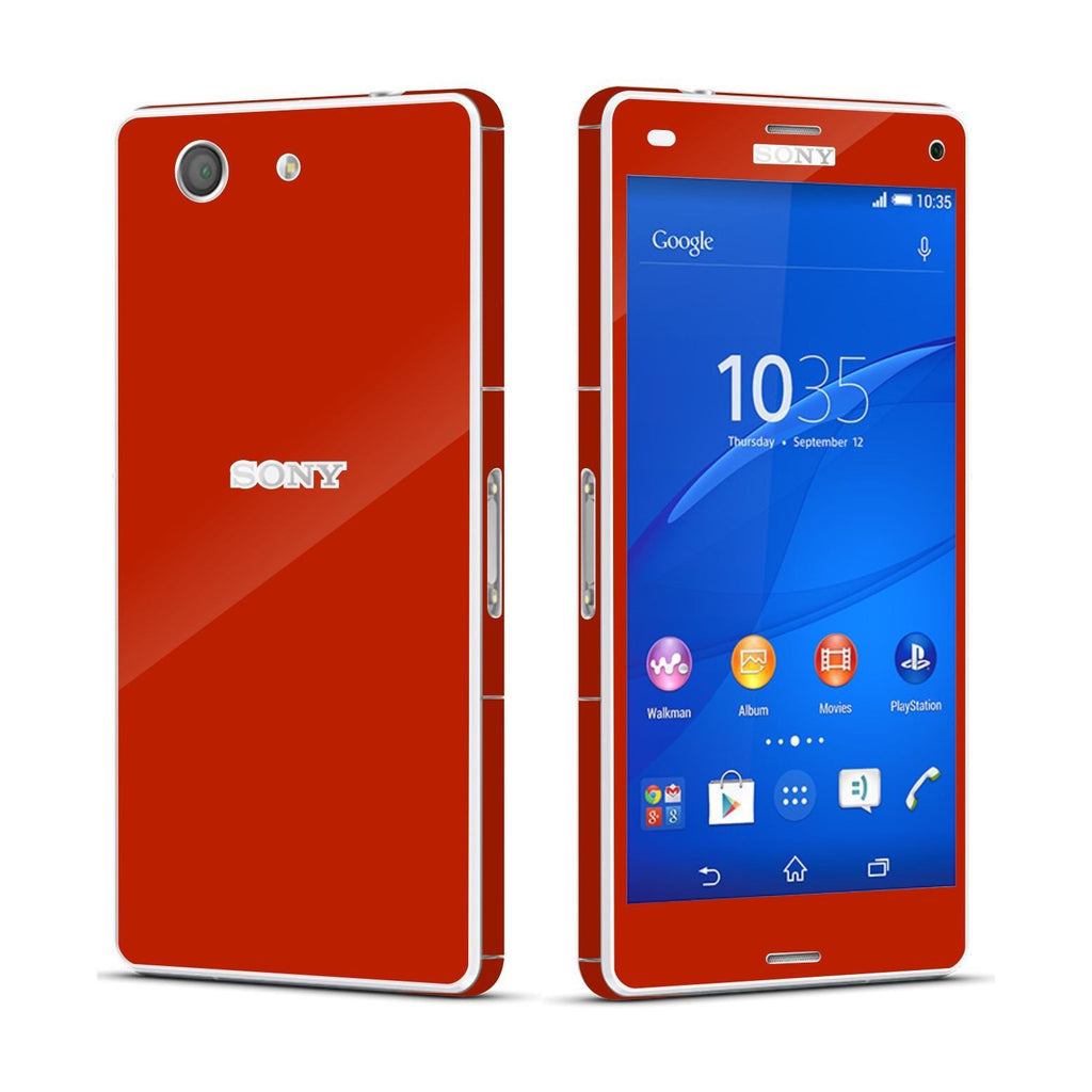 Sony Xperia Z3 COMPACT Deep Red Glossy Skin Wrap Sticker Cover Decal Protector By EasySkinz