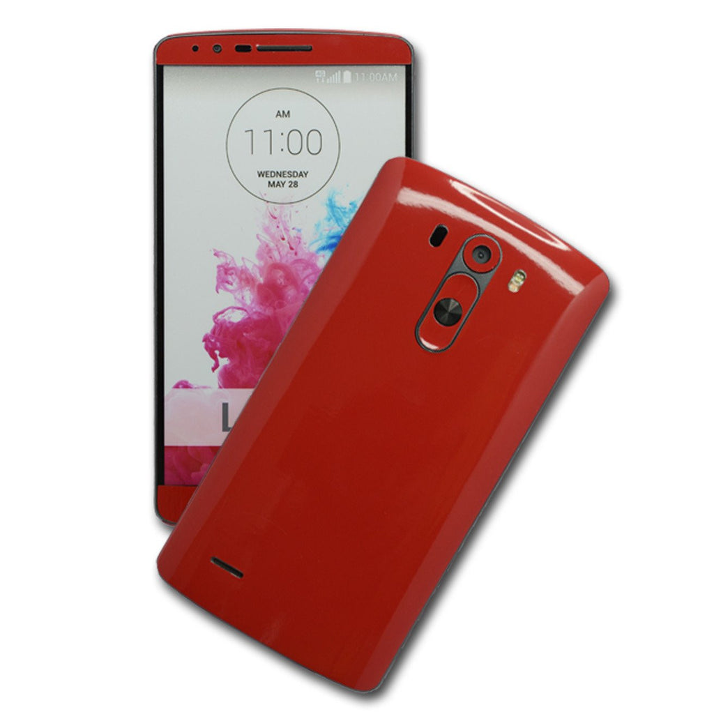 LG G3 Glossy Deep Red Skin Sticker Wrap Cover Decal Protector