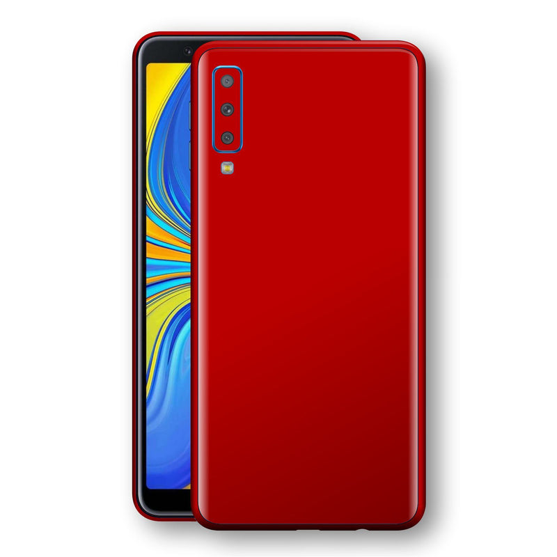 Samsung Galaxy A7 (2018) Deep Red Glossy Gloss Finish Skin, Decal, Wrap, Protector, Cover by EasySkinz | EasySkinz.com