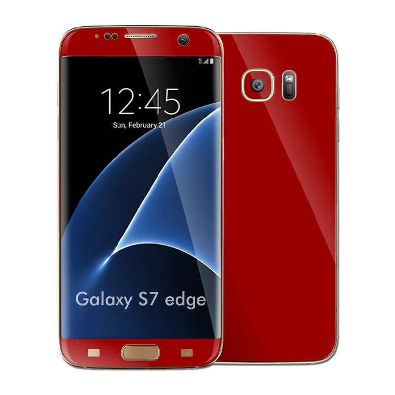 Samsung Galaxy S7 EDGE Glossy Deep Red Skin Wrap Decal Sticker Cover Protector by EasySkinz