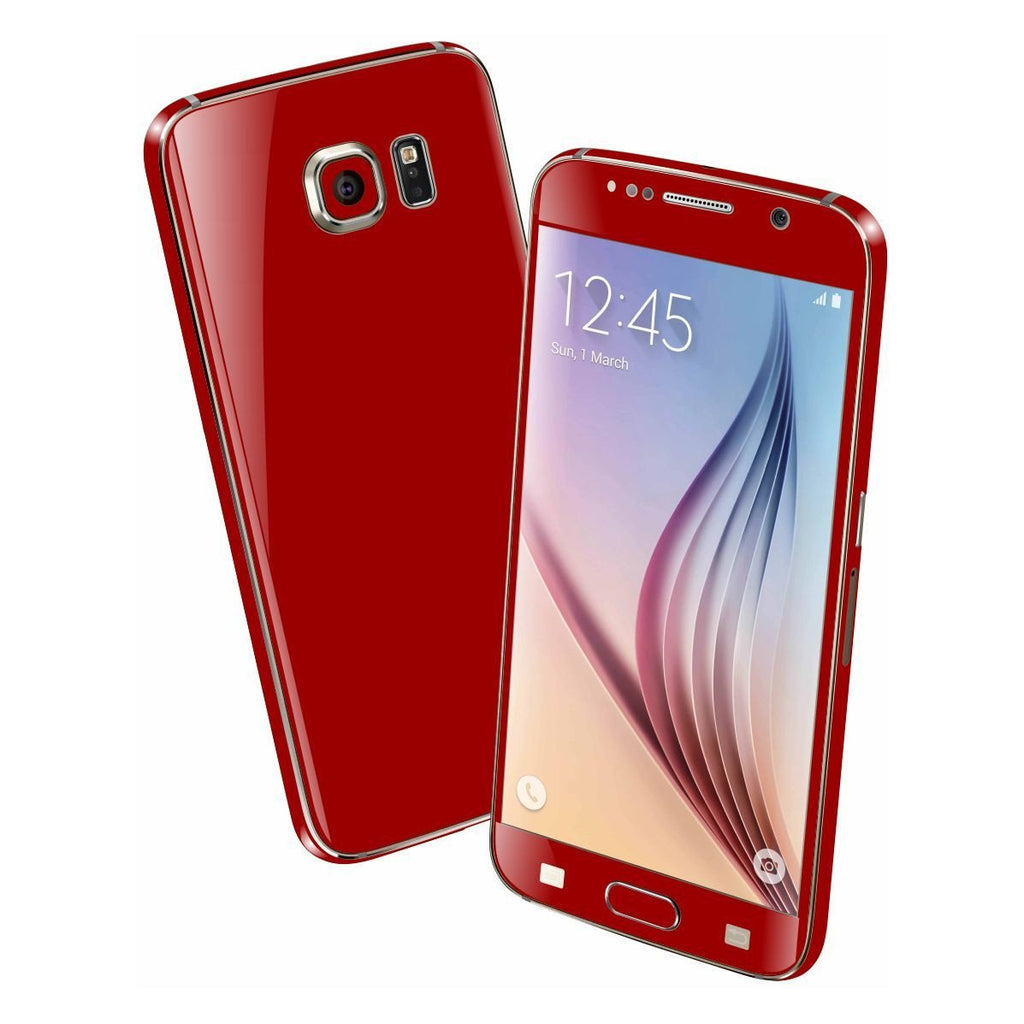 Samsung Galaxy S6 Colorful GLOSS GLOSSY Deep Red Skin Wrap Sticker Cover Protector Decal by EasySkinz