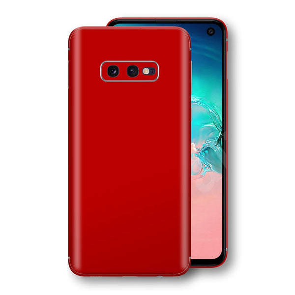 Samsung Galaxy S10e Deep Red Glossy Gloss Finish Skin, Decal, Wrap, Protector, Cover by EasySkinz | EasySkinz.com