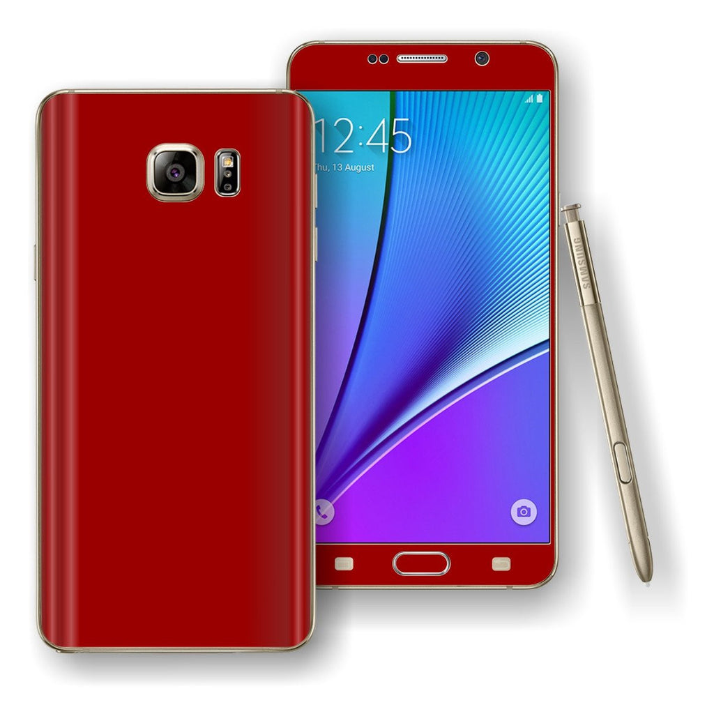Samsung Galaxy NOTE 5 Deep Red Glossy Skin Wrap Decal Cover Protector by EasySkinz