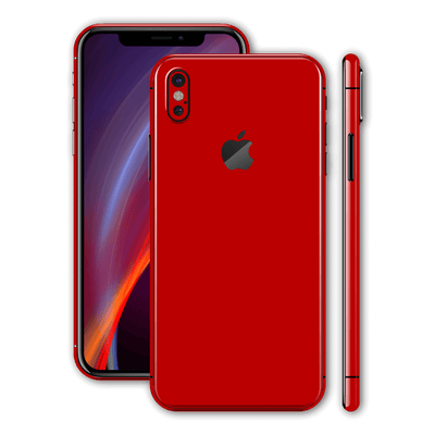 iPhone X Glossy Deep Red Skin, Wrap, Decal, Protector, Cover by EasySkinz | EasySkinz.com