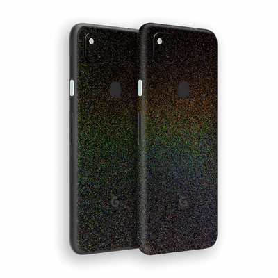Google Pixel 4a Glossy GALAXY Black Milky Way Rainbow Sparkling Metallic Skin Wrap Sticker Decal Cover Protector by EasySkinz