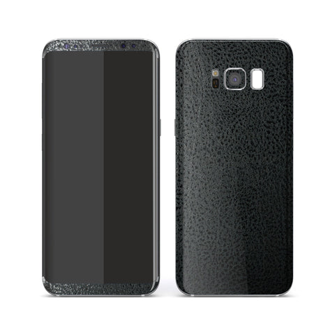 Samsung Galaxy S8+ Luxuria BLACK Leather Skin Wrap Decal Protector | EasySkinz