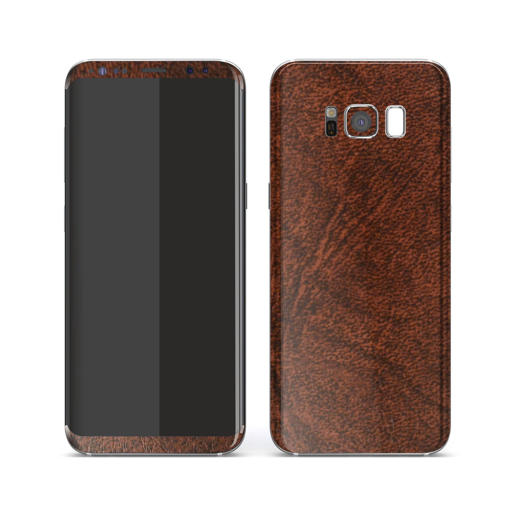 Samsung Galaxy S8+ Luxuria BROWN Leather Skin Wrap Decal Protector | EasySkinz